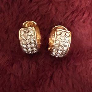 Jewelry - Goldtone Pave Huggie Earrings